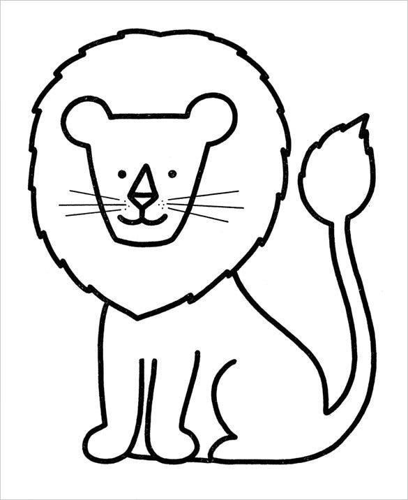 lion preschool coloring page