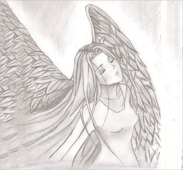 Awesome angel wings drawing for you