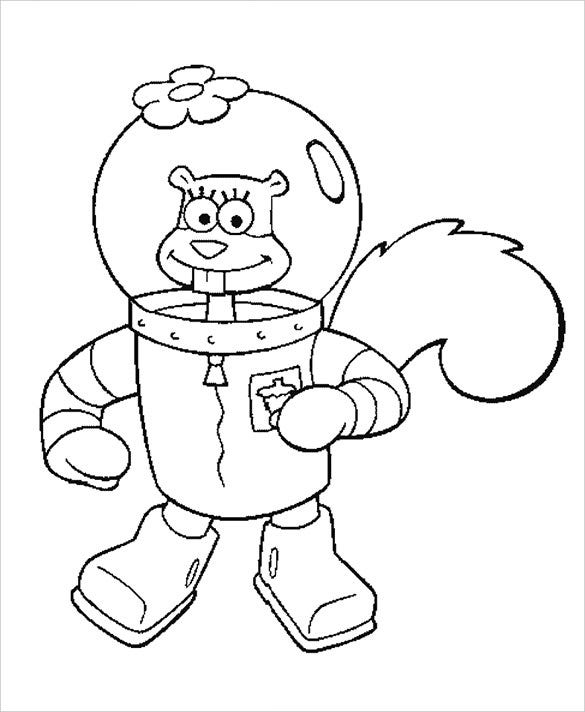 sandy cheeks preschool coloring page