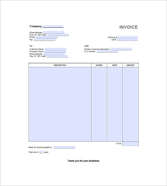 Hourly Invoice Template 5 Free Word Excel Pdf Format Download