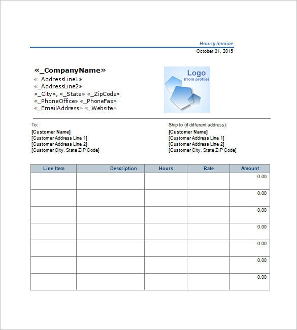 Free Hourly Invoice Template  Hourly Rate Invoice Template