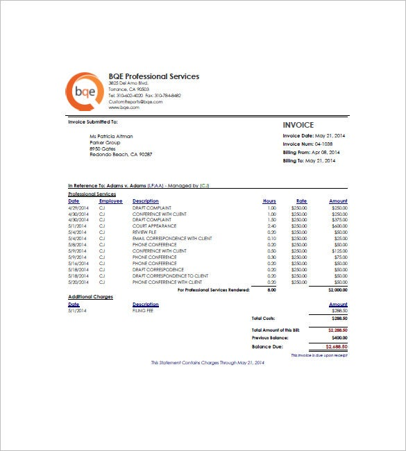 Hourly Invoice Template Free Word Excel PDF Format Download - Invoice template for services provided