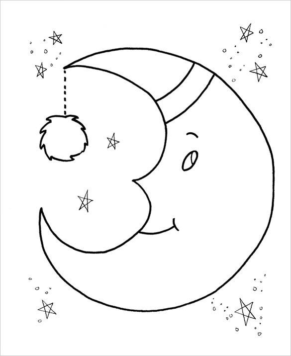 moon preschool coloring page