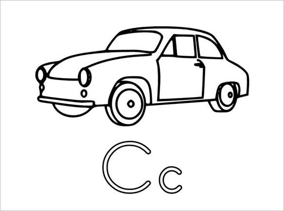 car preschool coloring page