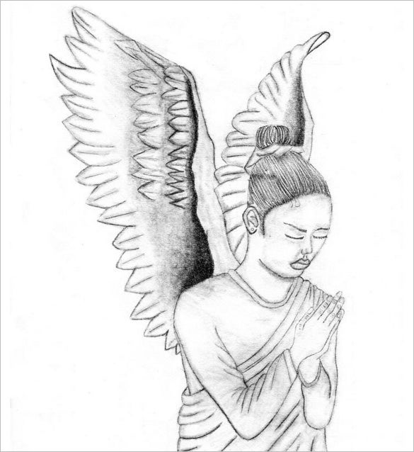 angel wings pencil drawing