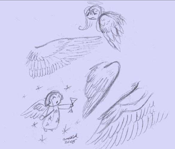 artistic angel wings drawing