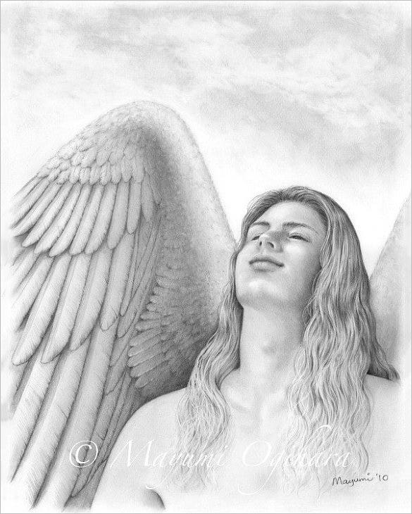 Original angel wings pencil drawing