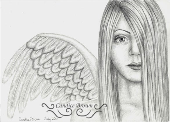 flawless angel wings drawing for you