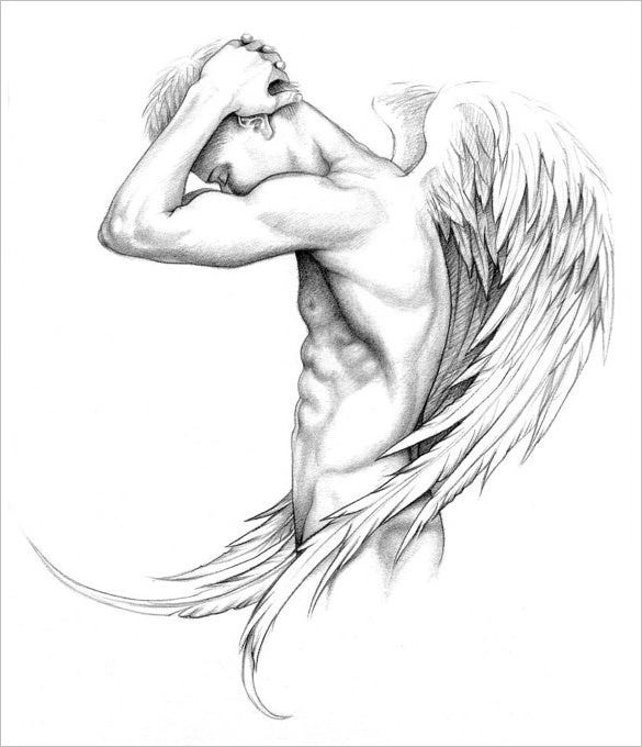 erotic nude male angel wings drawing