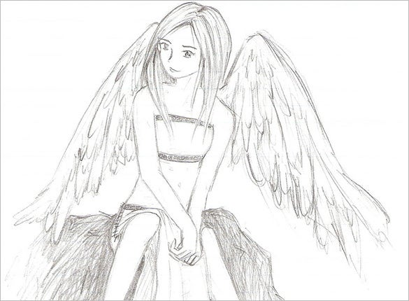 outstanding art of angel wings drawing