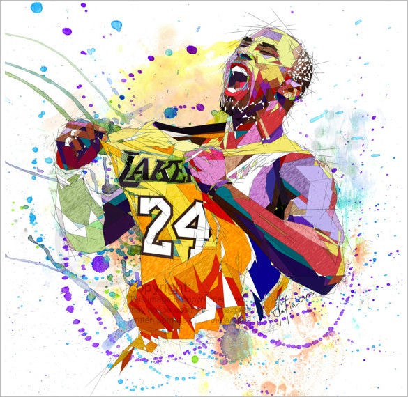 handmade abstract kobe bryant drawing