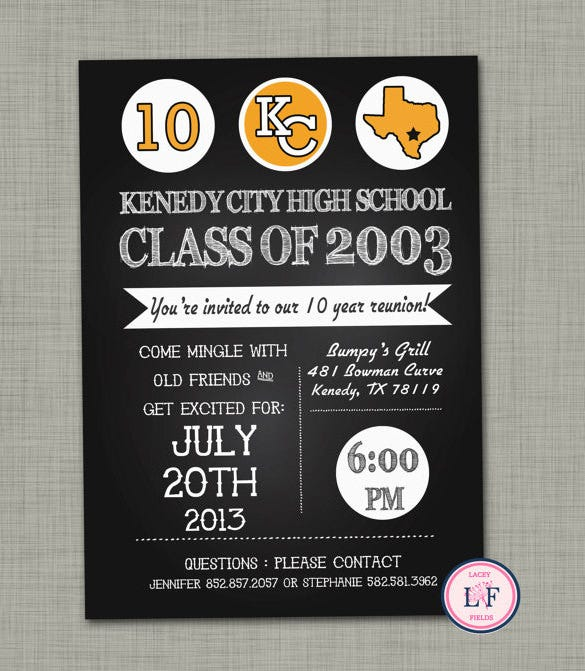 25 year high school reunion invitation template