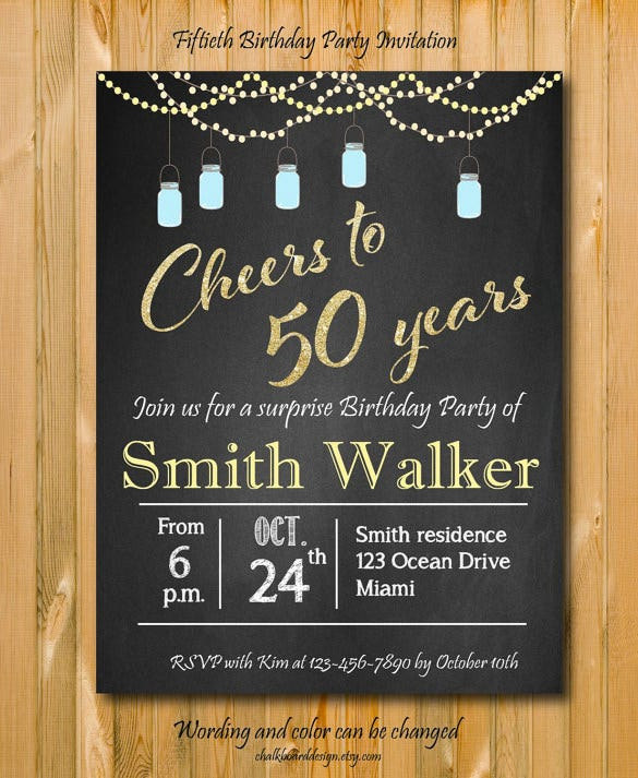 Invitation template 42 free printable word pdf psd publisher surprise 50th birthday party invitation chalkboard download filmwisefo