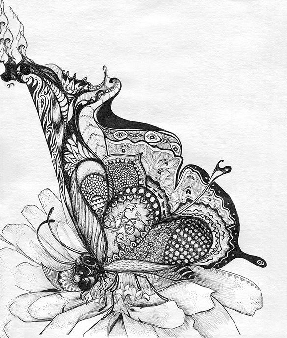 gilded butterfly abstract drawing