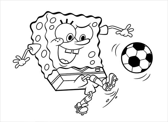 sponge bob play football coloring page