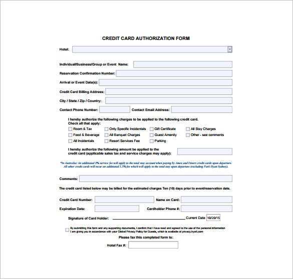 credit card processing form template
