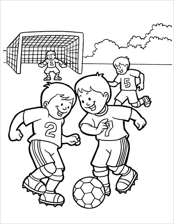 kids play football coloring page