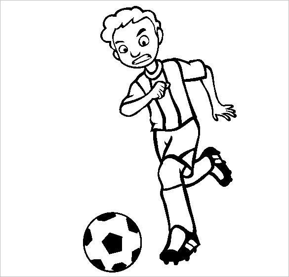 boy running with football coloring page
