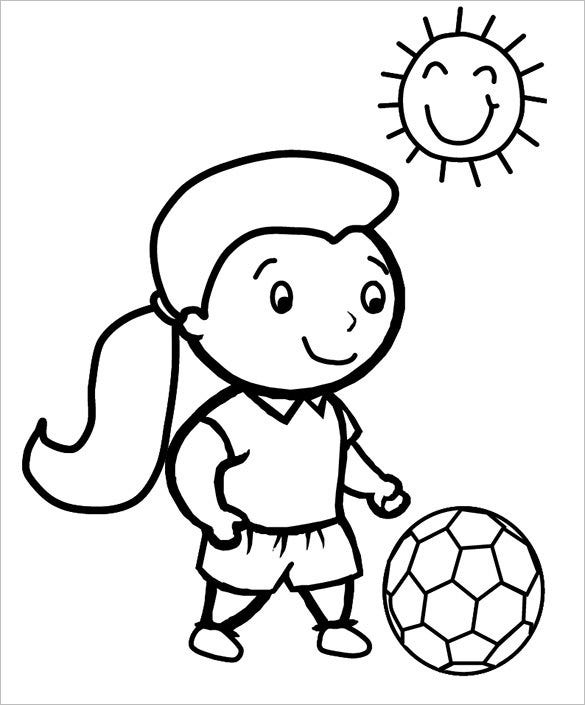 small girl playing football coloring page