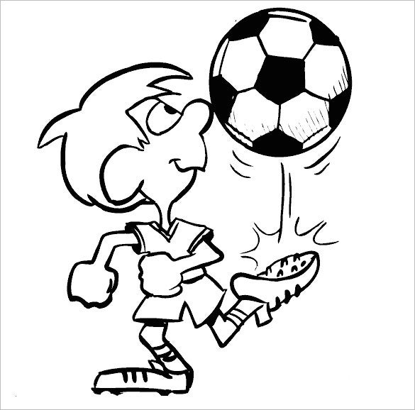 boy kicks football coloring page