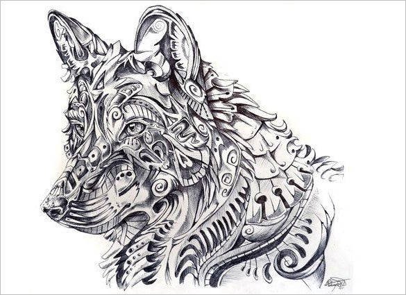 Abstract wolf pencil drawing