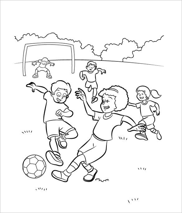 kids playing football print page