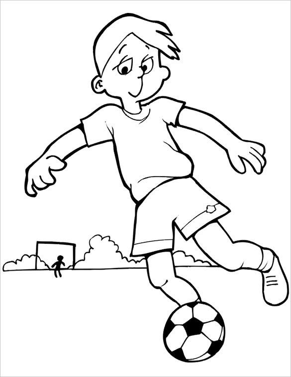 boy kicking football coloring page