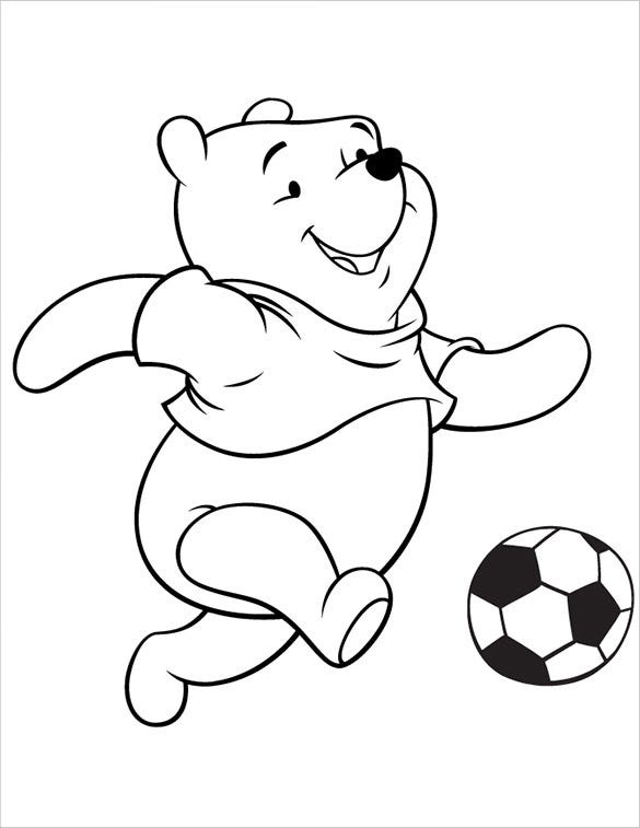 pooh playing football coloring page