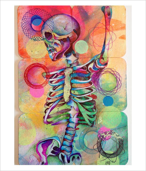 fantastic skull abstract drawing