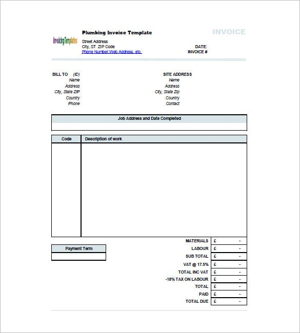 plumber invoice template  Plumbing Invoice Templates - 7  Free Word, Excel, PDF Format ...