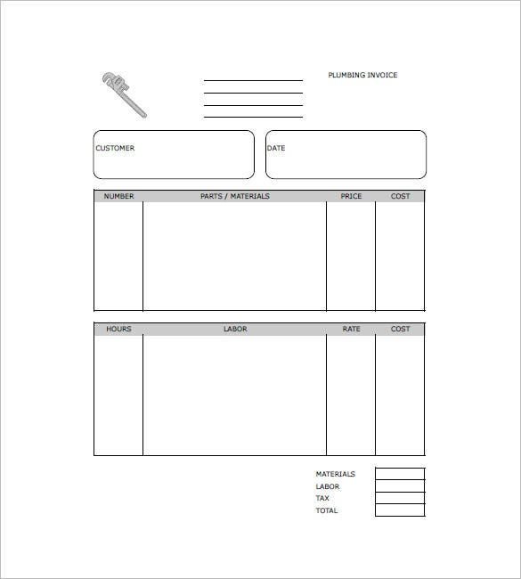 Plumbing Invoice Templates Free Word Excel PDF Format - Parts and labor invoice template free