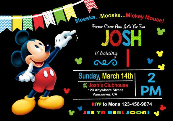 Birthday Invitation Template 34 Free Word PDF PSD AI Format – Mickey Mouse Invitation Template