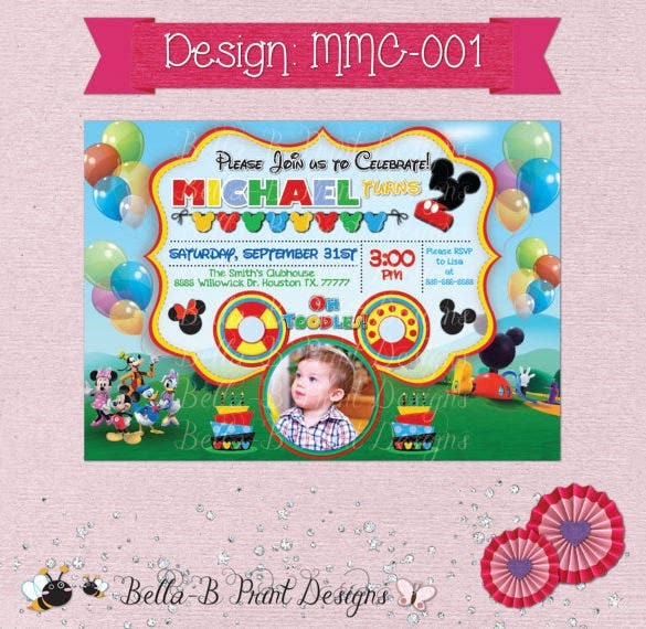 Mickey Mouse Clubhouse Birthday Invitation Design PDF