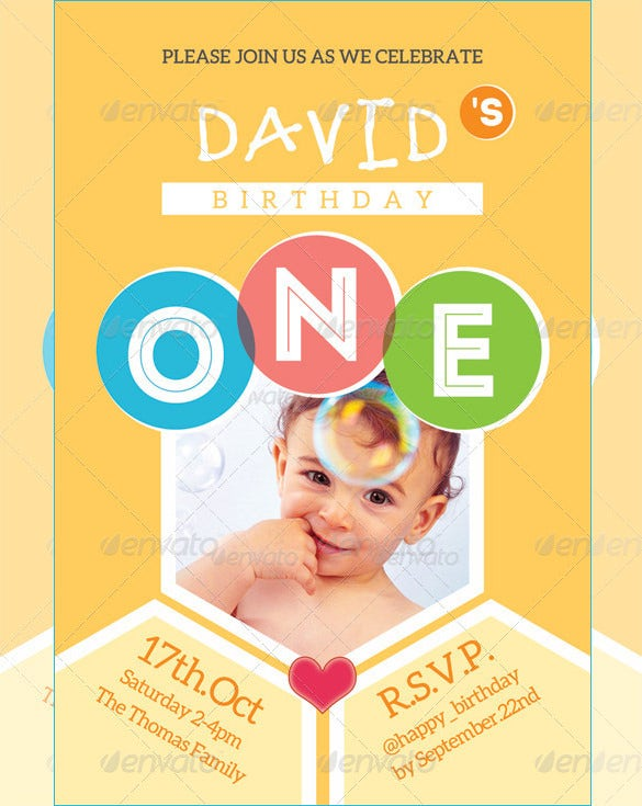kids happy birthday card invitation template psd design