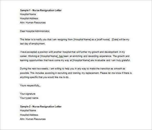 Resignation Letter Template 40 Free Word PDF Format Download – Nursing Resignation Letter