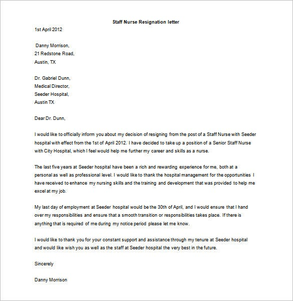 staff nurse resignation letter template example download