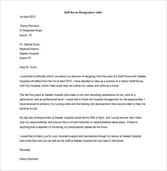 Resignation Letter For Nurses – Heartfelt Resignation Letter