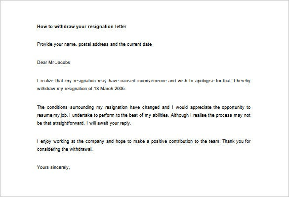 Resignation letter template 17 free word pdf format download how to withdraw your resignation letter word example spiritdancerdesigns