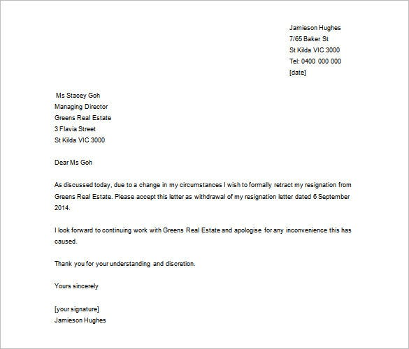 Download Cancellation Of Resignation Letter Sample Word Doc  Letter Of Resignation Template Word