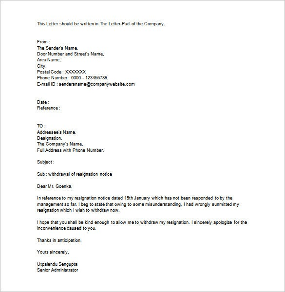 resignation letter template 40 free word pdf format download