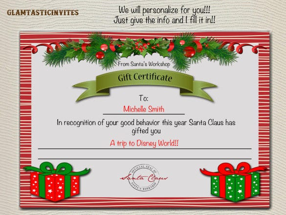Gift certificate template 34 free word outlook pdf for Homemade christmas gift certificates templates