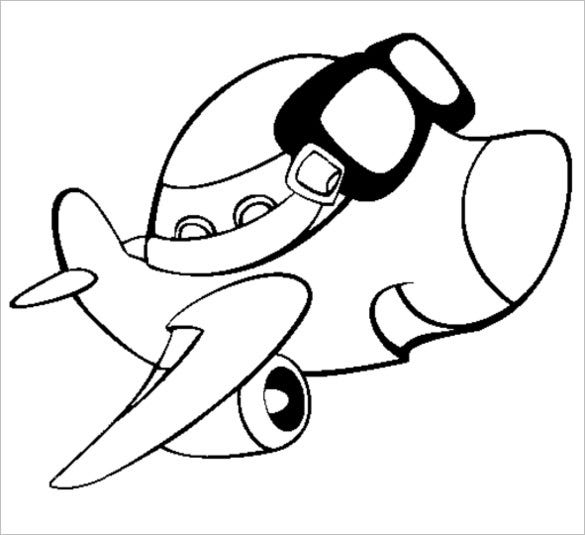 airplane with glasses coloring page
