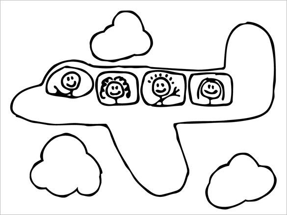 kids art airplane coloring page
