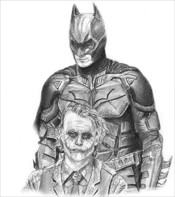 the dark knight batman and joker drawing