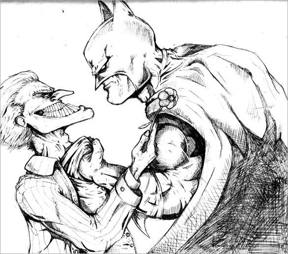 fabulous joker and batman drawing