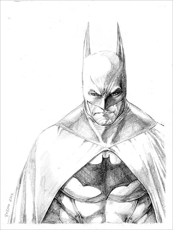 This is a batman sketch drawn from the arkham city the action adventure video game this is a very nice sketch where the white is very prominent