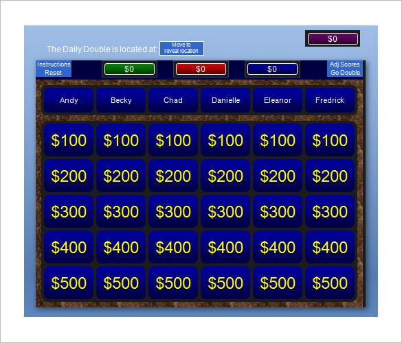Jeopardy template 36 free word excel ppt pdf format download free download jeopardy powerpoint template with score toneelgroepblik Choice Image