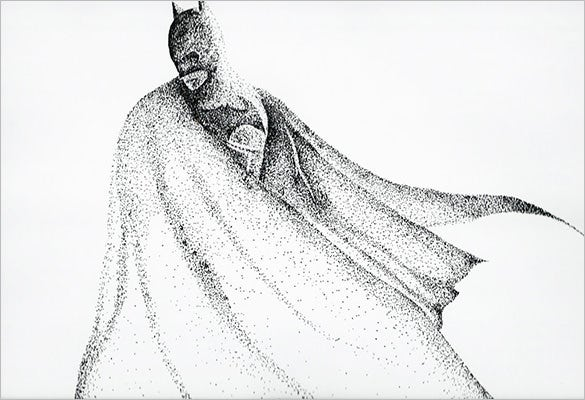 batman drawing with inks