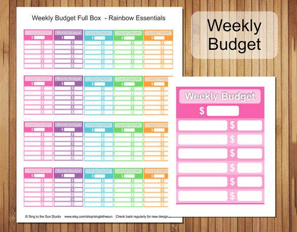 Printable Weekly Budget Full Box Template Download