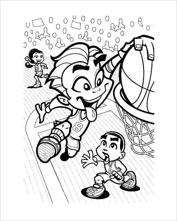 smiling kid basketball coloring page